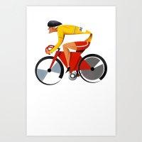 Solo Track Cyclist Art Print