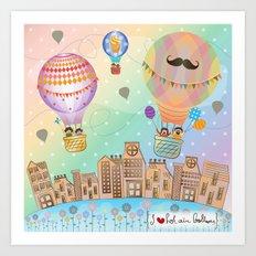 I {❤} Hot Air Balloon Art Print