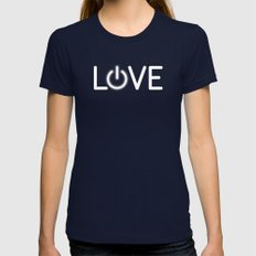 Love is Power Womens Fitted Tee Navy SMALL