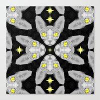 Sphynx Cat Black Pattern Canvas Print