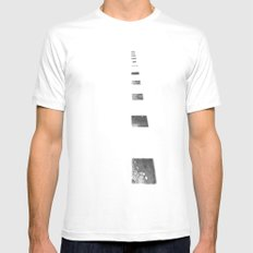 Minimalist Shadows SMALL White Mens Fitted Tee