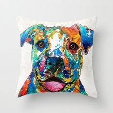 Colorful Dog Pit Bull Ar… Throw Pillow