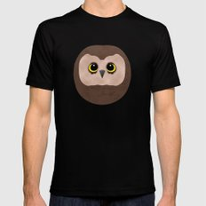 Chubby Little Owl Black SMALL Mens Fitted Tee