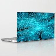 Black Trees Teal Space Laptop & iPad Skin
