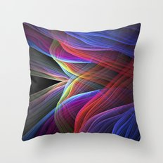Woven rainbows, colourful fractal abstract  Throw Pillow