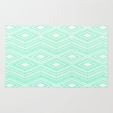 Hipster Mint Green Arrows Aztec Tribal Pattern Rug