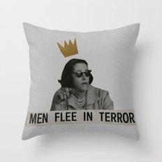 Men Flee in Terror Throw Pillow