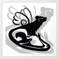 Winged Ferret (Black) Art Print