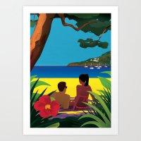 A Shaded Beach Art Print