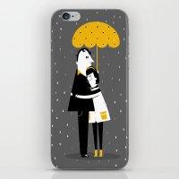 Abrazos bajo la lluvia iPhone & iPod Skin