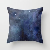 Night Sky Stars Galaxy | Watercolor Throw Pillow