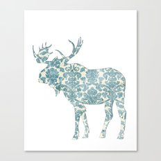 Moose Silhouette (vintage pattern) Canvas Print