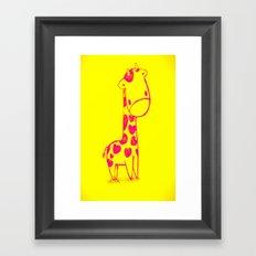 Pink Cute Giraffe Framed Art Print