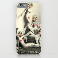 iPhone Cases featuring RECLINING NUDE CLOWNS (censored) by Julia Lillard Art