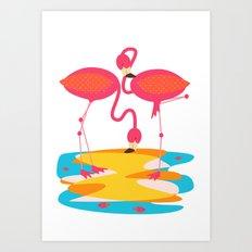 Flamingos Art Print