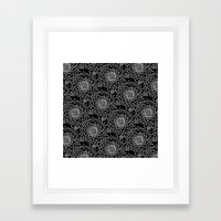A Crowd of Mums (black   white) Framed Art Print