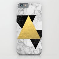 iPhone Cases featuring Marble Tri Black & Gold - gold foil, gold, marble, black and white, trendy, luxe, gold phone by CharlotteWinter