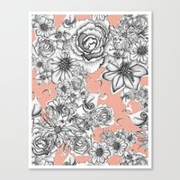 B&W Flowers Coral Canvas Print