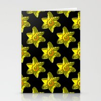 Daffodil On Black Stationery Cards