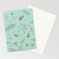 icy blue holiday corgis and twigs Stationery Cards