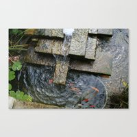 Fountain And Koi Canvas Print