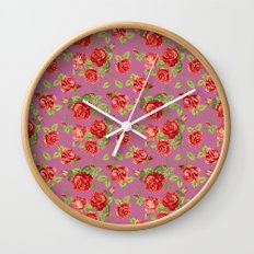 Rose pattern- pink Wall Clock