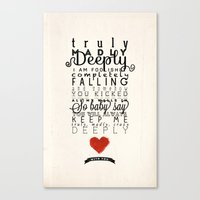 One Direction: Truly Madly Deeply Canvas Print