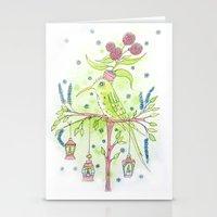 Flowerpot bird Stationery Cards