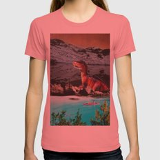Dinosaur Womens Fitted Tee Pomegranate SMALL