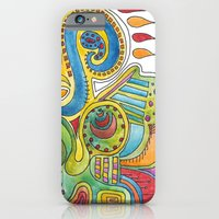 iPhone & iPod Case featuring colourful doodle by Ruca