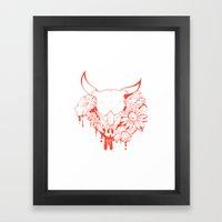 Flower Power Skull Framed Art Print