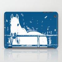 White Horse - Navy Blue iPad Case