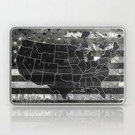 Usa Map Black And White Laptop & iPad Skin
