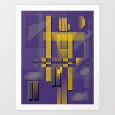 Purple Slices Yellow Art Print