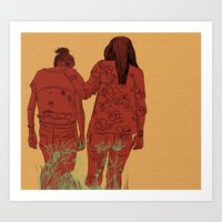 girls Art Prints featuring Girls by Nahal
