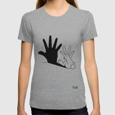 Rabbit Hand Shadow Womens Fitted Tee Athletic Grey MEDIUM
