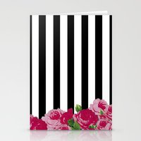 Bold Stripes with Flowers Stationery Cards