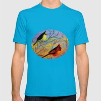 Birds On The Birch Tree Mens Fitted Tee Teal SMALL