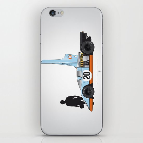 Outline Series N.º4, Steve McQueen, Porsche 917, Le Mans movie 1971 iPhone & iPod Skin