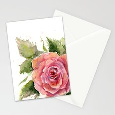 Watercolor Rose Stationery Cards