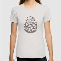 Pinecone Taupe Brown Womens Fitted Tee Silver SMALL