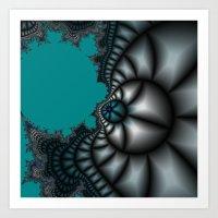 Blue shale fractal Art Print