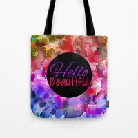 HELLO BEAUTIFUL Colorful… Tote Bag