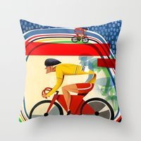 Track Cycling Championship Poster Cycle Bike Throw Pillow