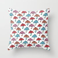 watercolour umbrella Throw Pillow