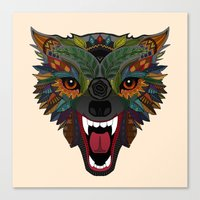 wolf fight flight ecru Canvas Print