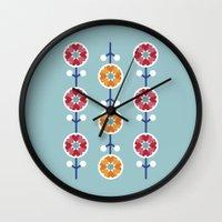 Scandinavian inspired flower pattern - blue background Wall Clock