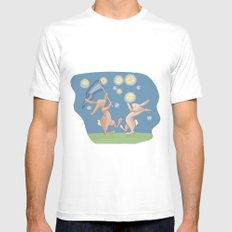 Bunnies Catching Fireflies White Mens Fitted Tee SMALL