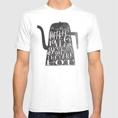 COFFEE & LOVE Mens Fitted Tee White SMALL