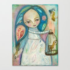 Free to fly - girl and birds Canvas Print